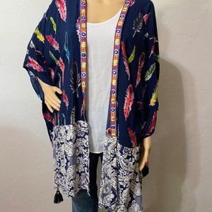 Umgee USA feather tassel kimono cardigan